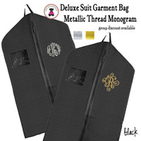 METALLIC THREAD Monogrammed Hanging Garment Bag for Dress/ Suit-Black-FREE SHIP/Group Discount/Gift for Her/Suit Garment/Grad Gift/Cheer Gift / Dancer Gift