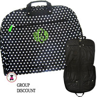 Monogrammed Canvas Garment Bag - Black with White Polka Dots - FREE SHIP/Group Discount/Gift for Her/Suit Garment/Grad Gift/Cheer Gift / Dancer Gift