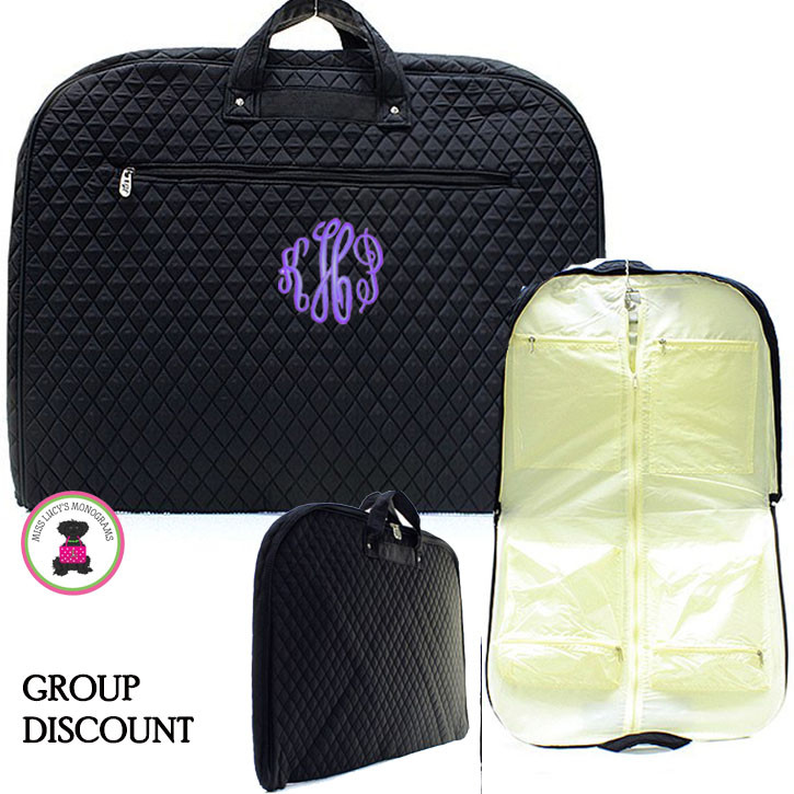 f12386ae05ce GROUP ORDERS - QUILTED Deluxe Monogrammed Garment Bag-Solid Black-FREE  SHIP/Group Discount/Gift for Her/Suit Garment/Grad Gift/Cheer Gift / Dancer  ...