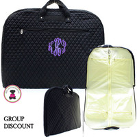 GROUP ORDERS - QUILTED Deluxe Monogrammed Garment Bag-Solid Black-FREE SHIP/Group Discount/Gift for Her/Suit Garment/Grad Gift/Cheer Gift / Dancer Gift