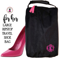 For Her Monogrammed Large Ripstop Travel Shoe Bag-Black-FREE SHIP - Group Discount-/Bridesmaid Gift/Grad Gift/Gift for Her/Bridesmaid Gift