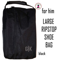 For HIM Monogrammed Large Ripstop Travel Shoe Bag-Black-FREE- Group Discount-Men's Travel/Groomsmen Gift /Father's Day/Grad Gift