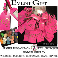 LEATHER LUGGAGE TAG Event Group Gift 25+ - Heart  -Free Ship-Group Discount/ Event Gift/Bridesmaid Gift/Wedding Favor/Sorority Gift/Travel Gift/Corporate Gift