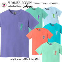 SUMMER LOVIN' Comfort Colors Short Sleeve Pocket Tee with Embroidered SEAHORSE  - Adult Small to 3xl - FREE SHIP - Beach/Pool/Summer/Grad Gift/Girl Gift