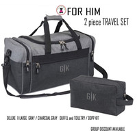 FOR HIM Monogrammed 2 piece Deluxe Travel Set-Gray/Charcoal Gray- Free Ship -Travel Set/Groomsmen Gift/Father's Day/Grad Gift
