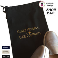 Travel Shoe Bag with SPECIALTY DESIGN-Gather Memories/ Leave Footprints (BK) - FREE SHIP /Bridesmaid Gift /Family Reunion/Cruise/Group Gift/Gift for Her/Men Travel Gift/Groomsmen Gift