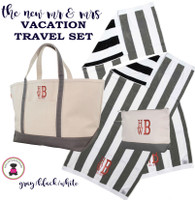 Mr & Mrs Monogrammed Vacation Travel Set- XL Boat Tote/2 Beach Towels/Essentials Case-Gray / Black -FREE SHIP/Vacation Travel Set/Mr and Mrs Gift/ Wedding Gift/Destination Wedding/Gift for the New Couple/Bridal Shower Gift