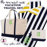 Mr & Mrs Monogrammed Vacation Travel Set- XL Boat Tote/2 Beach Towels/Essentials Case-Navy/Yellow/White -FREE SHIP/Vacation Travel Set/Mr and Mrs Gift/ Wedding Gift/Destination Wedding/Gift for the New Couple/Bridal Shower Gift