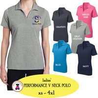 SP ELEM - Ladies' Performance V Neck Polo with Collar