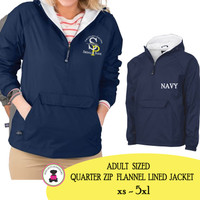 SPE ELEM - Adult Sized Charles River Flannel Lined Pullover Jacket - Navy
