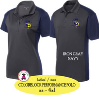 SP ELEM - ADMIN-  Ladies'/Men Colorblock Performance Polo - Iron Gray/Navy