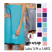 Monogrammed Small/Medium or Large Deluxe Waffle Weave Spa Wrap with Pocket- 16 Colors-Free Ship/Group Discount/Bride Gift/Bridesmaid Gift/Gift for Her/Grad Gift/New Mom Gift