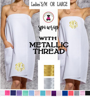 METALLIC Monogrammed Small/Medium or Large Deluxe Waffle Weave Spa Wrap with Pocket- 16 Colors- Free Ship/Group Discount/Bride Gift/Bridesmaid Gift/Gift for Her/Grad Gift/New Mom Gift