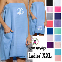 Monogrammed Ladies' XXL Plus Size SPA WRAP-Waffle Weave Spa Wrap w/Pocket-Free Ship/Group Discount/Bride Gift/Bridesmaid Gift/Gift for Her/Grad Gift/New Mom Gift