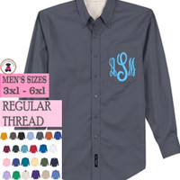 Men's Oxford Shirt FOR HER -EMBROIDERED MONOGRAM -MEN'S SIZES 3X - 6X - FREE SHIP/Gift for Her/Tunic Shirt/Bridesmaid Gift /Mother's Day Gift/Grad Gift/Bride Gift/Group Discount