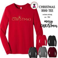 Christmas 2019 Tee-Merry CHRISTmas-Bella & Canvas Unisex Adult Long Sleeve Tee-FREE SHIP/Glitter Christmas Shirt/Christmas Tee/Family Gift
