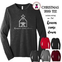 Christmas 2019 Tee-Heaven Came Down-Bella & Canvas Unisex Adult Long Sleeve Tee-FREE SHIP/Glitter Christmas Shirt/Christmas Tee/Family Gift