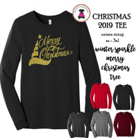 Christmas 2019 Tee-Winter Sparkle Merry Christmas Tree-Bella & Canvas Unisex Adult Long Sleeve T-FREE SHIP/Glitter Christmas Shirt/Christmas