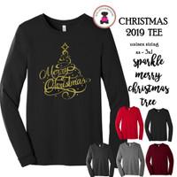 Christmas 2019 Tee-Sparkle Merry Christmas Tree-Bella & Canvas Unisex Adult Long Sleeve Tee-FREE SHIP/Glitter Christmas Shirt/Christmas Tee