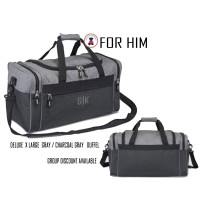 FOR HIM Monogrammed Deluxe 2 Tone Duffel-Gray/Charcoal Heather-FREE Ship-Men's Travel /Mens Duffel/Groomsmen Gift /Father's Day Gift/Grad Gift
