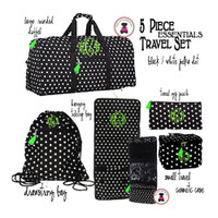 Monogrammed 5 Piece Travel Set -Polka Dot-Black/White- FREE SHIP/ Duffel Travel Set/Gift for Her/Flower Girl  Gift/Grad Gift/Tween Gift