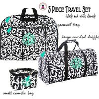 Monogrammed 3 Piece Travel Set - Damask- Black / White- FREE SHIP/ladies' Travel Set/Gift for Her/Bridesmaid Gift/Flower Girl Gift/Dancer Gift/Grad Gift