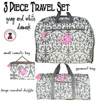 Monogrammed 3 Piece Travel Set -Damask - Gray / White- FREE SHIP/ladies' Travel Set/Gift for Her/Bridesmaid Gift/Flower Girl Gift/Dancer Gift/Grad Gift