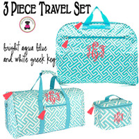 Monogrammed 3 Piece Travel Set -Damask - Greek Key- Aqua / White- FREE SHIP/ladies' Travel Set/Gift for Her/Bridesmaid Gift/Flower Girl Gift/Dancer Gift/Grad Gift