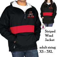 ALLATOONA SOCCER Flannel Lined, PULLOVER  Striped Wind Jacket - Adult Sized - Black/Red Stripe