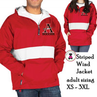 ALLATOONA SOCCER Flannel Lined, PULLOVER  Striped Wind Jacket - Adult Sized -Red / White Stripe
