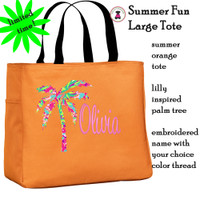 Summer Fun Custom Design Large Open Tote-Orange-FREE SHIP/Travel Gift/Bridesmaid Gift/ Bride Gift/Bridesmaid Gift/Grad Gift/Beach Tote/Summer