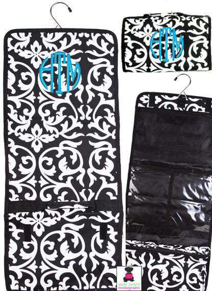 MONOGRAMMED   DAMASK HANGING COSMETIC BAG