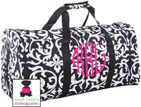 Monogrammed Large Canvas Rounded Duffle - Damask - Black & White- FREE SHIP