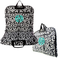 black and white damask garment bag