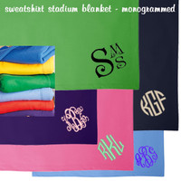"Monogrammed Fleece ""Sweatshirt"" Stadium Blanket - FREE SHIP"