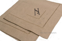 Monogrammed Taupe Linen Dinner Napkins with Dot detail  - SET OF 6- FREE SHIP