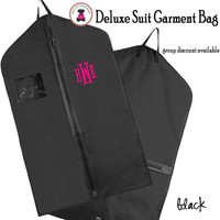 Monogrammed Hanging Garment Bag for Dress/ Suit-Black-FREE SHIP/Group Discount/Gift for Her/Suit Garment/Grad Gift/Cheer Gift / Dancer Gift