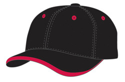 Black/Red Cotton Twill Cap with Contrast Lip Peak