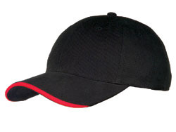 Black/White Cotton Half-Wave Sandwich Peak Cap