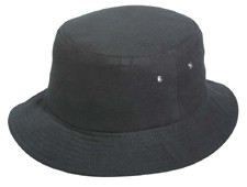 Black Cotton Mesh Bucket Hat