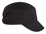 Black CT1440 Fine Brushed Cotton Military Cap | Toque.ca