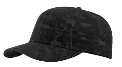 Black Cotton Crackle Washed Cap