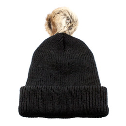 Black - CK1090 Toque With Faux Fur Pom | Toque.ca
