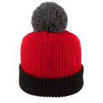 Red/Black - CK1100 Tri-Tone Toque with Cuff and Pom | Toque.ca
