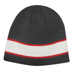 Black/White/Red Acrylic Knit Toque with Sandwich Stripe