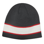 Black/White/Red AC2600 Acrylic Knit Toque with Sandwich Stripe | Toque.ca