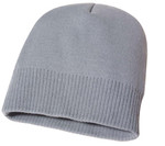 Grey Acrylic Knit Toque with Rib Hem