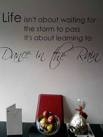 Dance in the rain wall quote stickers
