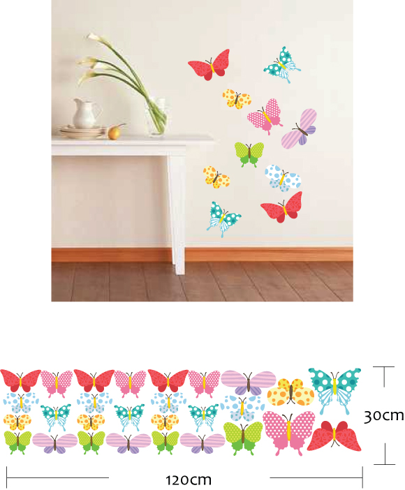 colourful butterflies wall stickers