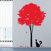 Stylish Tree and Cat Wall Sticker
